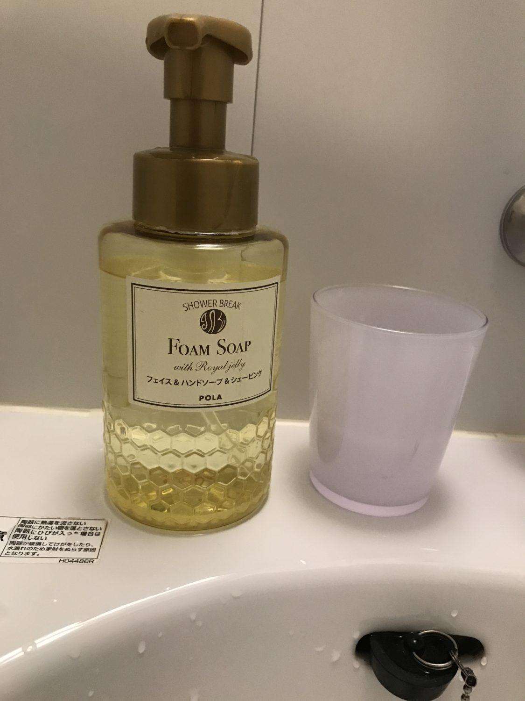 洗面の手洗い石鹸。ちょっと泡立ちが悪い&泡切れが悪かったかも。